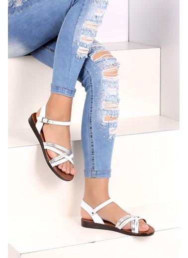 Pembe Potin A218-19 Kadın Sandalet Beyaz